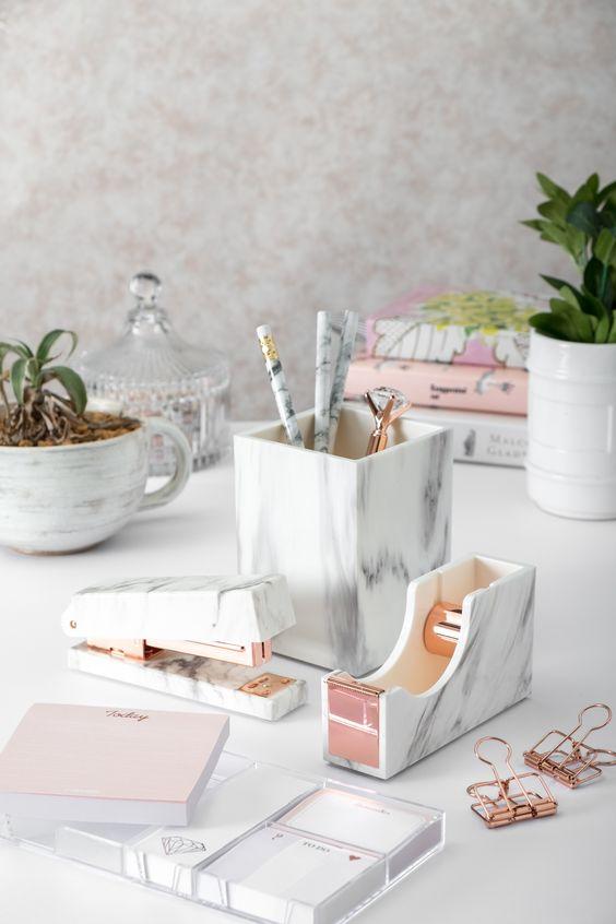 marble desk organizer set