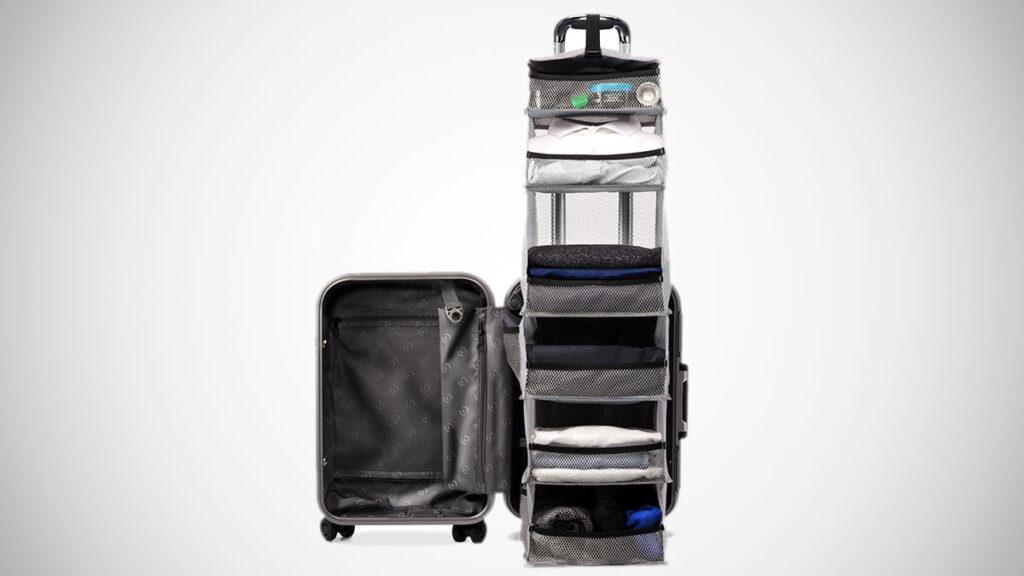 suitcase in closet