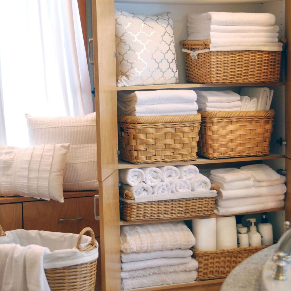 wicker baskets in closet